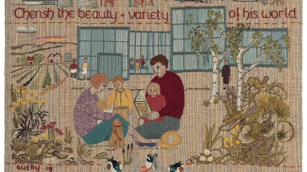 the ecology panel from the quaker tapestry showing family surrounded by future buildings and nature